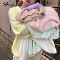 Hirsionsan Soft Loose Knitted Cashmere Sweaters Women Winter Solid Female Pullovers Warm Basic Knitwear Jumper 210824