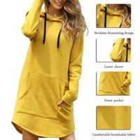 Casual Hooded Pocket Long Sleeve Pullover Sweatshirts Womens Hoodie Dress Autumn Winter