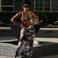 Yaz Baskı Moda Elbise Set Kadın Kolsuz Sling Ince Kırpma Üst Ve Yüksek Bel Mesh Uzun Etek Lady Sokak Casual Setleri