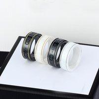 Керамическая полоса кольца черная белая для женщин мужчин ювелирные изделия золотое серебряное кольцо с коробкой