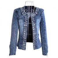 casaco feminino Fashion Women Diamonds Denim Jacket coat Ladies jacket Tops Slim Jeans casaco Top plus size blazer feminino 4XL H0917