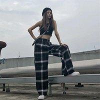 Yaz Harajuku Vintage Ekose Pantolon Kadınlar Gevşek Casual Düz Yüksek Düz Bacak Jogger Punk Pantolon Cepler Sweatpants Giyim Kadın Kapr