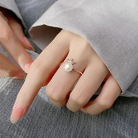 Cluster Rings Real 925 Sterling Silver Zircon Pearl Crown Adjustable Ring For Fashion Women Wedding Fine Jewelry Cute Accessories Gift