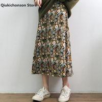 Qiukichonson İlkbahar Yaz Kadın Uzun Midi Etekler Vintage Sevimli Elastik Yüksek Bel A-Line Şifon Çiçek Rokjes Dames