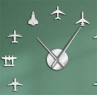 Flying Plane Fighter Jet Modern Large Wall Clock DIY Acrylic Mirror Effect Sticker Airplane Silent Wall Clock Aviator Home Decor 1384 V2