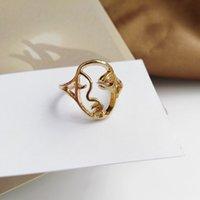 Modelado de cara personalizada Hueco Creativo Metal Textura Índice dedo Dedo Femenino Hip Hop Junto Ring 32