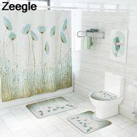 Bath Mats Nordic Green Grass Pattern Non-slip Mat Shower Curtain Set Bathroom Home Decoration Blanket Toilet Floor