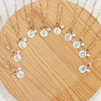 Chains Stainless Steel Paper Clip Link Chain Customize Pearls Letter Initial Alphabet Pendant Necklace For Women Toggle Choker Jewelry
