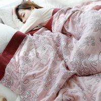 Decken Blume gemütliche leichte Musliner Baumwolldecke Twin Queen Wurf für Bett Sofa Sommer Bettwäsche Coveret Bettsheet
