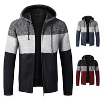 Cardigan With Hood Fall Winter Clothes Explosive Gradient Plus Fleece Thick Sweater Large Size Slim Jacket Men's Sweaters 2021