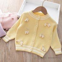 Sweet Baby Girls Stereo Cherry Sweater Cardigan Barn Stripe Round Collar Långärmad Stickad Outwear Kids Kläder Q1060