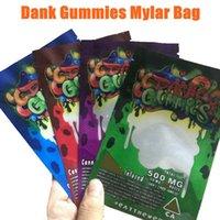 Dank Gummies Mylar Bag Edibles Packaging 500mg Blocco con zip Confezione Worms Worms Bears Cubes Gummy per asciugare erba tabacco fiore vs biscotti borse