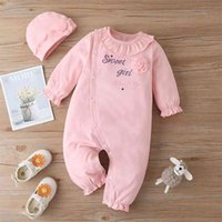 Autumn Style Infant born Baby Romper Long Sleeve Letter Decorative Flower Pink Jumpsuits Cotton Clothes Outfits 210629