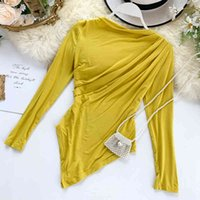 Women's T-Shirt Autumn Crowd Fold Thin Irregular Tops Ins Long Sleeve Solid Color Casual Tee J763 ULET