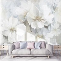 Wallpapers Custom Mural Wallpaper 3D White Hand-painted Oil Painting Abstract Flowers Living Room TV Background Wall Decor Papel De Parede