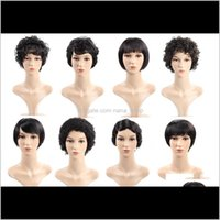 Straight Short Brasilian Virgin Kinky Parrucche umane ricci con i capelli del bambino 8 pollici Swiss Pizzo ACZRA K4LZO