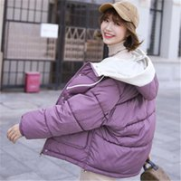 Women's Trench Coats Winter Jacket Women Down Hooded Students' Short-style Clothes Girls'Winter Cotton-padded Big Size Coat T422