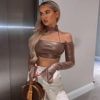 Casual Clubwear T-shirt Halter Split Long Flared Sleeve Off Shoulder Slash Neck Solid Crop Tees Skinny Fashion Women's Tops