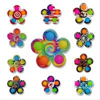 Push Simple Dimple Party Favor Pop Bubble Fidget Toys Plus 5 Sides Leafs Finger Play Game Anti Stress Hand Spinner Fingertip Colorful