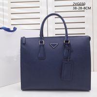 2021 الرجال الأزرق الجلود مصمم حقيبة عالية الجودة سعة كبيرة حقيبة كمبيوتر محمول الرجعية الأزياء ماء حقيبة يد مكتب عارضة لونين