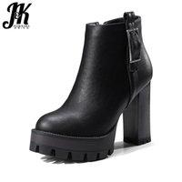 Boots jk 2021 marca grossa saltos altos sapatos mulher tornozelo inverno plataforma calçado zipper fivela cinta de qualidade das mulheres