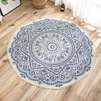 Carpets European Classical Rugs Cotton Thread Printing Coffee Table Mat Floor Bedroom Study Round Carpet Traditional Vintage Rug