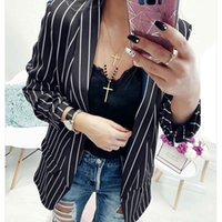 Women's Suits & Blazers 2021 Autumn Formal Cuff Folds Woman's Black White Striped Outwear Casual Slim Jackets Office Lady Coats Blazer Coat