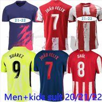 Atletico 20 21 22 22 22 Suarez Soccer Jerseys 2021 Joao João Félix Madrid Felix Saul Morata Diego Costa Casa Away Away Camicia calcio Adult Men + Kid Kit
