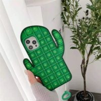 3D Bubble Fidget Phone Case Funny Cute Cactus Silicone Cover for Iphone 11 12 Pro Mini XR XS MAX 6 7 8 Plus