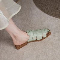 Slippers Leather Women Shoes Casual Summer Slides Comfortable Versatile Thick Heel Leisure Sandals Handmade Size 34-40