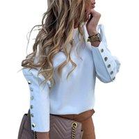 Autumn womens manica lunga pulsanti Lettera Stampa Tops Ladies OL Ufficio Camicetta casual casual pullover Camicie da donna Camicie