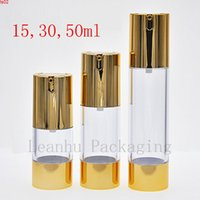 Gold makeup setting spray airless lotion cream pump bottle, travel size luxury dispenser container jarhigh qiy