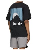 2021 INS Amerikan Los Angeles Rhude Dağ Logosu Tee Kaykay Erkek Tasarımcı T Gömlek Kadın Sokak Rahat Tshirt