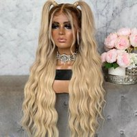 Synthetic Wigs Natural Fluffy Brown Ombre 613 Long Body Wave 13*4 Lace Front Wig With Baby Hair 180% Density Daily  Party Wear