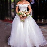 Princess Wedding Dresses Off Shoulder Covered Button Court Train A Line Appliques Garden Chapel Bridal Gowns vestidos de novia robes de mariee