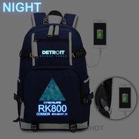 Plecak Wis Gra Detroit: Zostań ludzką torba RK800 Torba Podróży Szkoła USB Ładowanie Laptop Luminous