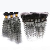 Ombre gris peruano profundo pelo humano pelo con encaje frontal raíz oscuro 1b plata gris ombre 13x4 encaje cierre frontal con paquetes