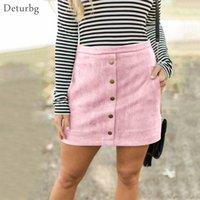 Casual Dresses Womens Fashion Buttoned Suede Skirt Female Sexy High Waist Back Zipped Pockets Pink Pencil Skirts Saias Faldas Autu