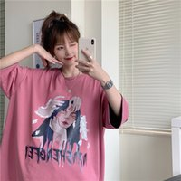 E-BAIHUI Women Portrait Printing Half Sleeve T-shirt Hip-Hop Harajuku Summer Spring Streetwear Oversized Retro Female hong kong tshirts for mens cotton