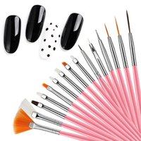 Nail Art Kits 15Pcs Hook Line Dotting Drawing Pen Polish Makeup Brushes Manicure Tool