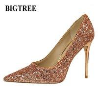 Sapatos de vestido BigTree Outono / Primavera Mulheres Bombas Europa Moda High-Heeled Lantejoulas Lantejoulas Finas Sexy Pointed Woman1