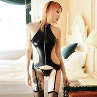 Club nocturno de cuero fiesta de sexo traje erótico slim bodysuits medias conjuntos de aleos hembra sexy abrigre a la entrepierna Bodyless Body's Pumpsuits R