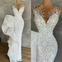 Luxurious Pearls Mermaid Wedding Dresses Beaded Crystals Lace Jewel Neck Sequined Bridal Gowns Robe de mariée