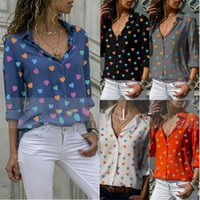 Woman Elegant Blouses Plus Size Heart Printed V Neck Long Sleeve Tops Fashion Slim Women Shirts