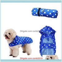 Apparel Supplies Home & Garden1Pc Raincoat Waterproof Hooded Dog Clothes Blue Dot Rain Coat Cloak For Small Large Puppy Pet Rainy Xs Xl With