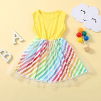 Rainbow Striped Tulle Dress Toddler Kids Baby Girls Party Princess Summer Sleeveless Children Dresses For Girl Clothing Girl's