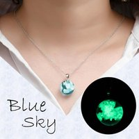 Handmade Blue Sky And White Clouds Bird Gradient Pendant Necklace, Transparent Crystal Resin Jewelry For Women Gift Chains