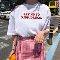 Women's T-Shirt Say No To Kids Funny T Shirt Women Cotton Harajuku Tshirt Shrot Sleeve Loose Camiseta Mujer Black Tee Femme