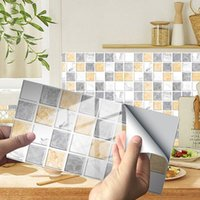 Wall Stickers 12pcs set Marble Mosaic Flat Crystal Hard Tiles Ceramics Sticker Kitchen Drawer Decoration Art Mural Peel & Stick Wallpaper