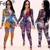 Frauen Jumpsuits Strampler Felyn 2021 Ins Internet Celebrity Berühmtes Mesh Zwei Teile Drucken V-Ausschnitt Bodysuits Lange Hose Sommer Sexy Party